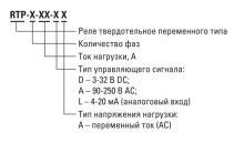 структура условного обозначения реле RTP